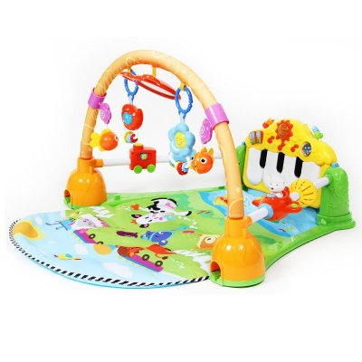 谷雨帶護欄嬰兒健身架玩具 嬰幼兒兒健身器 多功能腳踏鋼琴嬰幼兒游戲毯 寶寶音樂爬行墊0-1歲