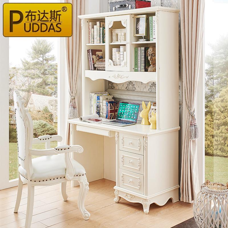 布达斯家具欧式实木直角转角书桌书柜组合法式台式电脑桌象牙白写字台