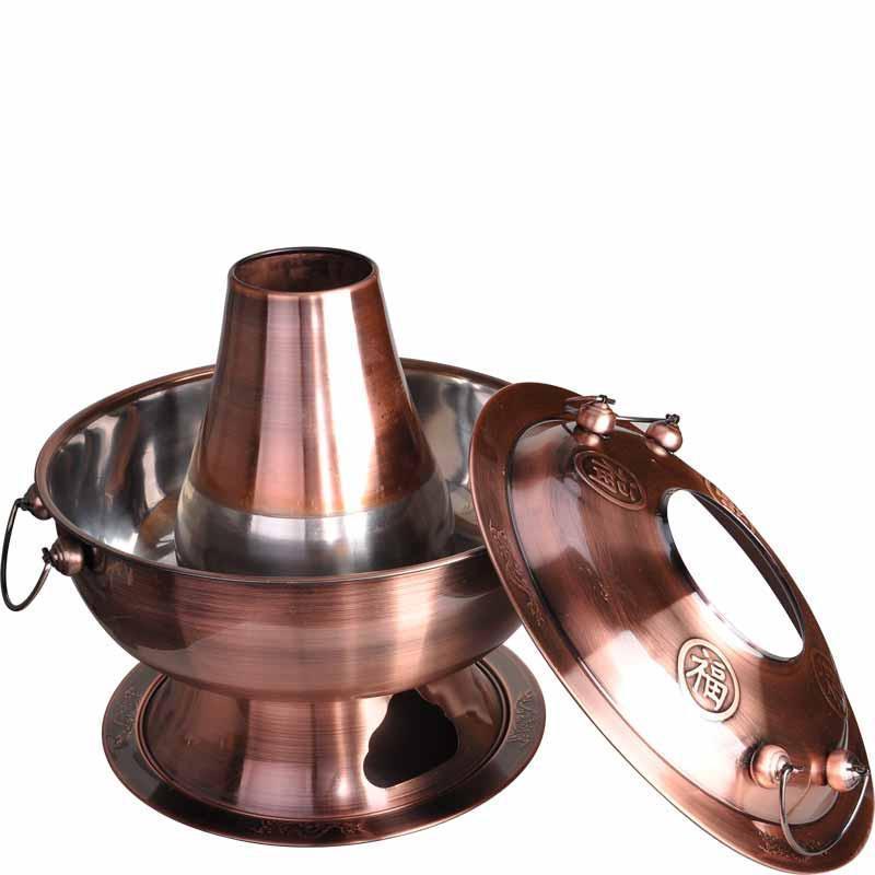 天科 木炭火锅炉子加厚不锈钢边炉锅 传统老式木炭火锅非铜火锅 仿
