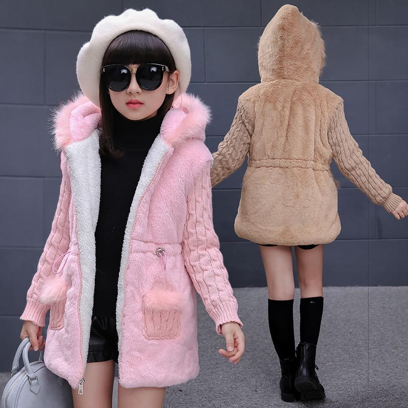 布奇酷童装 儿童仿皮草外套 秋冬款加厚女童毛毛衣保暖外套中长款女孩