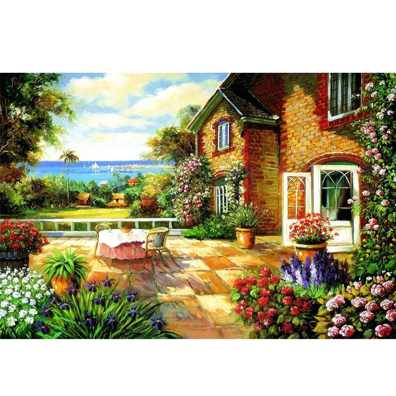意特朗白卡1000片拼图 成人益智拼图玩具 风景油画 装饰画 海边阳台带