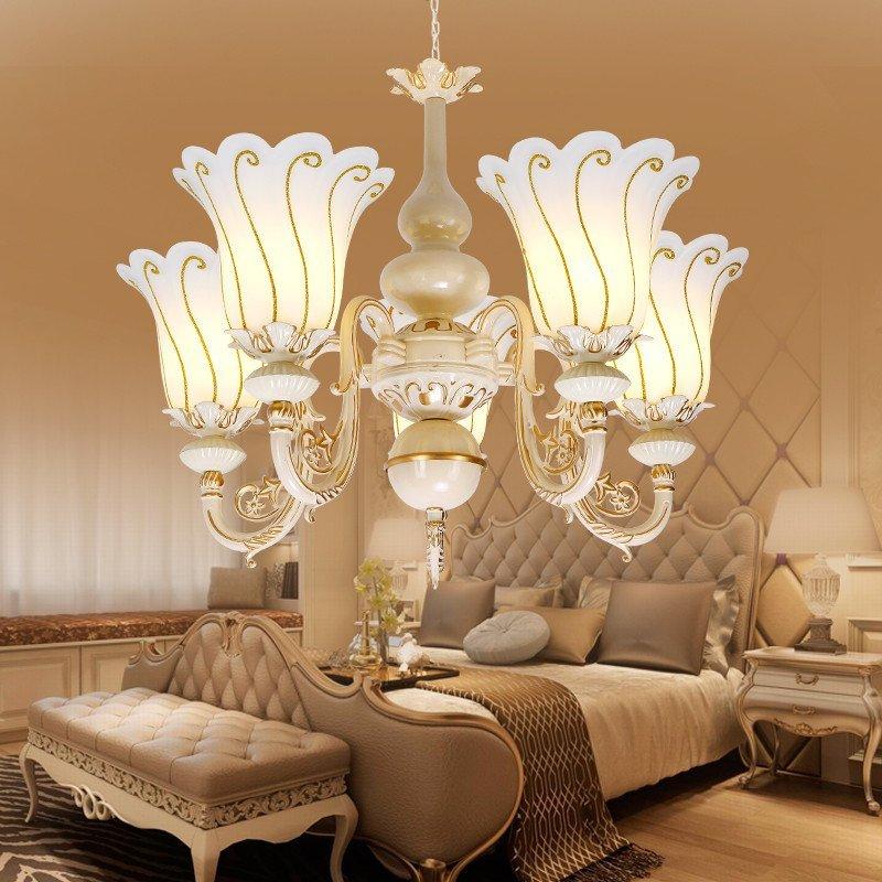 伦灯灯饰 欧式田园吊灯客厅灯简约温馨卧室灯餐厅美式