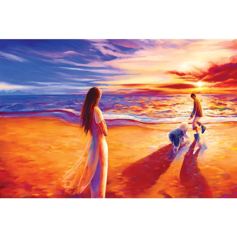 风景油画木制拼图 浪漫星空 结婚礼物 st077-漫步海滩