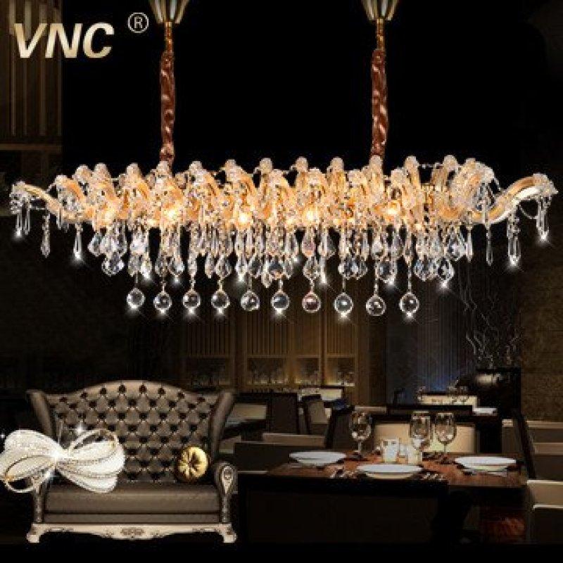 vnc 欧式水晶餐厅吊灯 水晶餐厅灯 长方形水晶吊灯 md