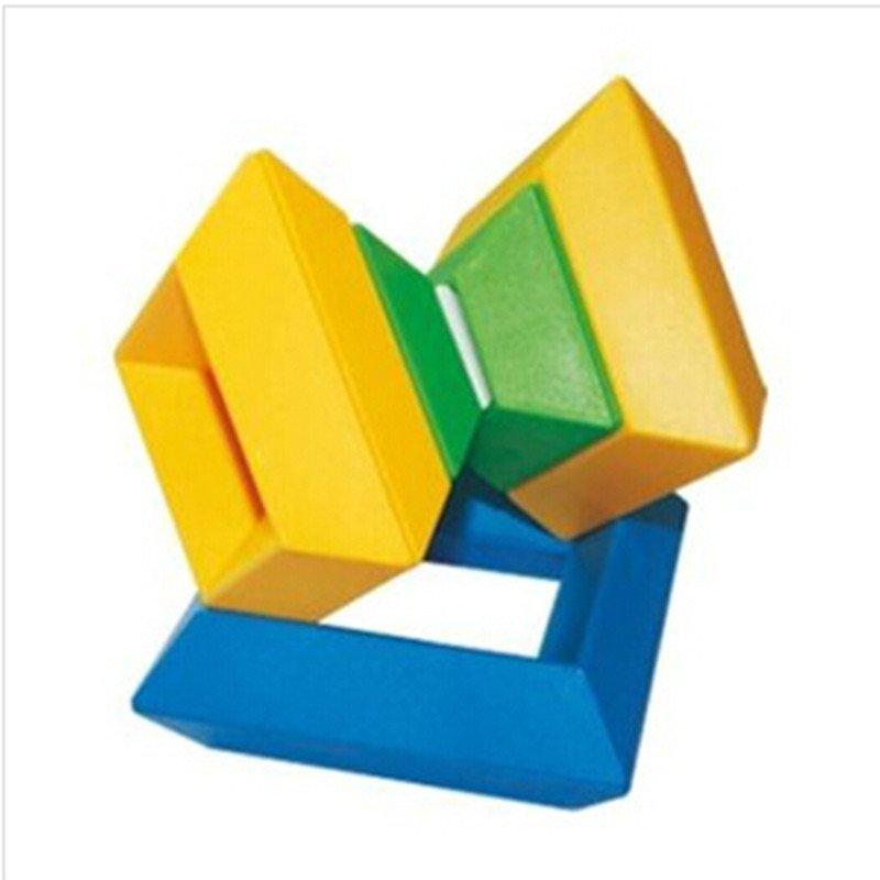 贝旺正品菱形塑料积木儿童魔塔金字塔魔方宝宝早教益智玩具小桶装p
