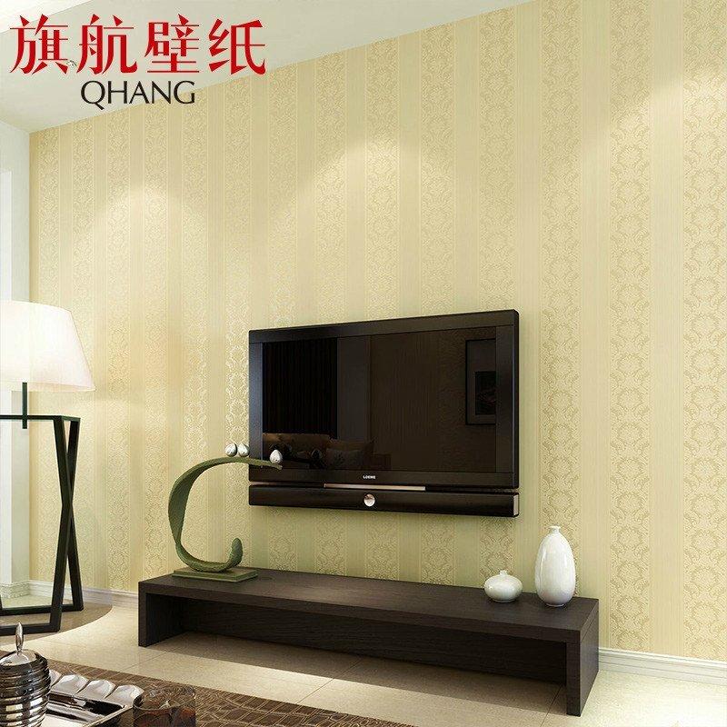 旗航大马士革欧式墙纸卧室客厅电视背景墙竖条立体植绒壁纸qhc-m