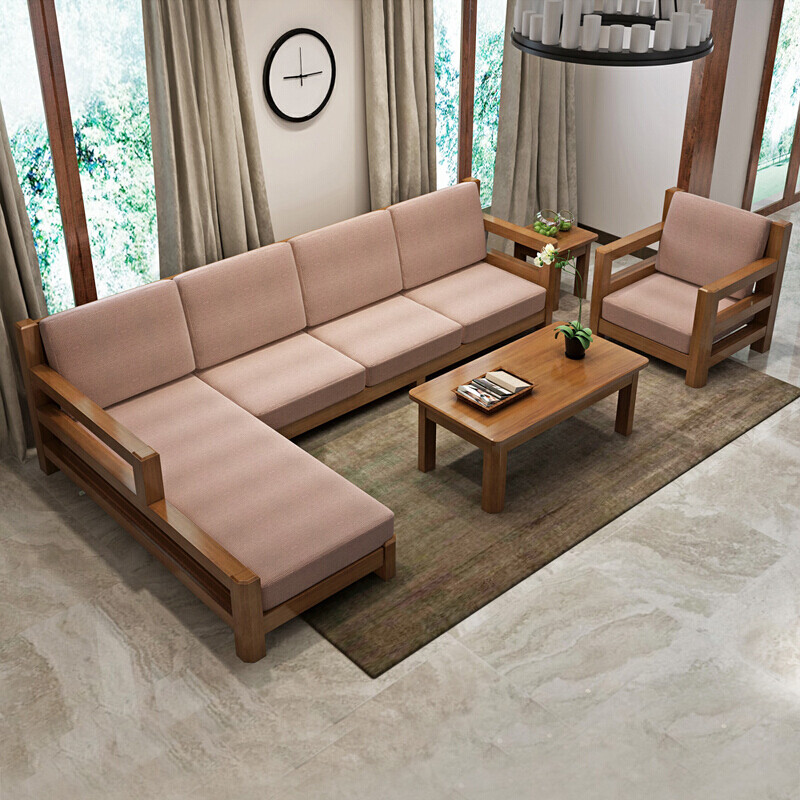 木帆 实木沙发 木布艺沙发 l型客厅转角沙发 现代中式