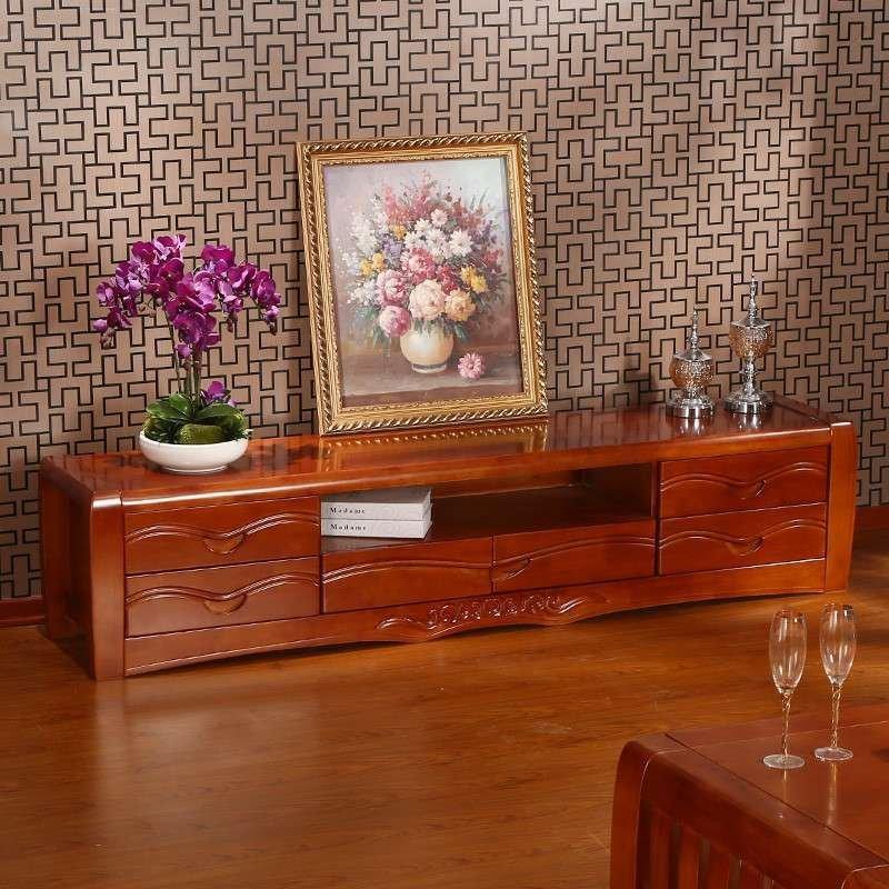 初林 中式实木电视柜 中式客厅实木家具 现代中式家具
