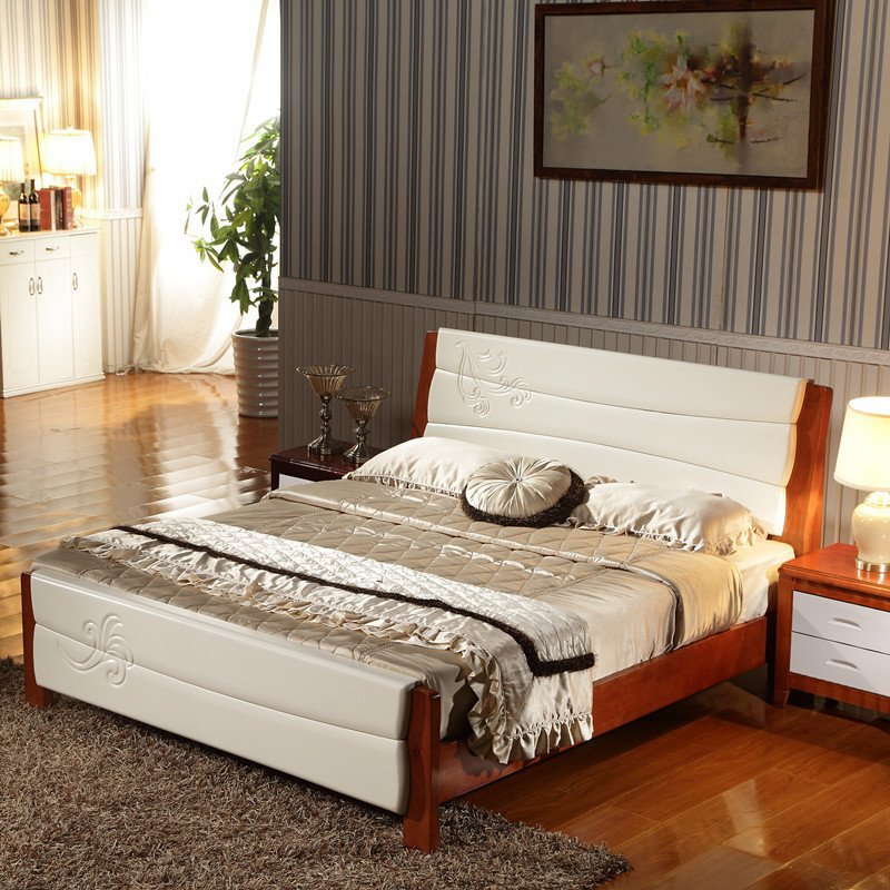 8米双人床1 8全实木结婚床架大床2米木质橡木床