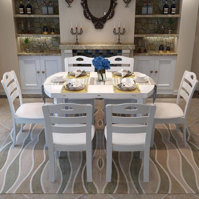 天成博源简约现代餐厅家具实木餐桌 可折叠伸缩家用多