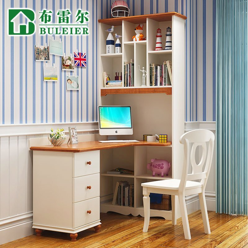 布雷尔 地中海儿童实木书桌书柜组合小孩学习桌带书架学生写字桌图片