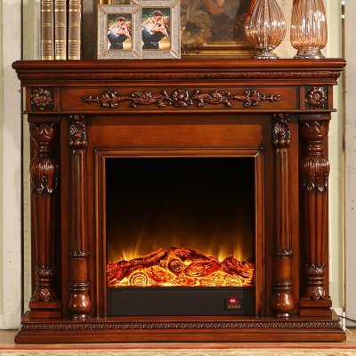 帝轩名典1.5米装饰柜壁炉 欧式美式实木壁炉架装饰 罗马柱壁炉
