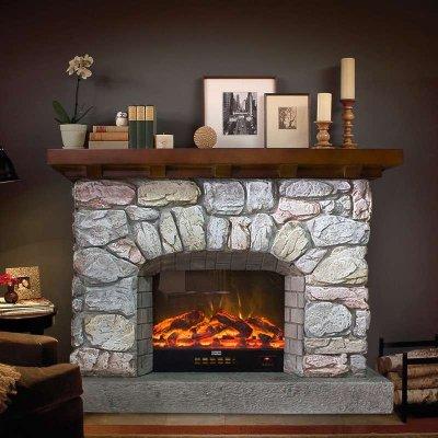 帝軒名典1.3/1.5米歐式復古壁爐裝飾柜 仿石頭壁爐架裝飾取暖爐芯