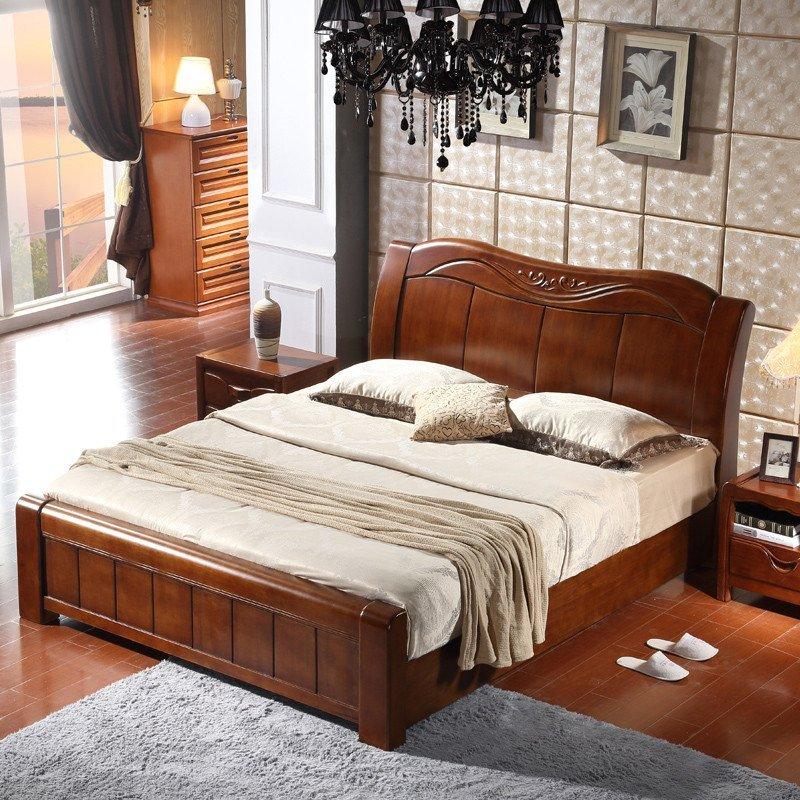 吟鸿 现代全实木橡木床 胡桃色木床简约中式 全实木家具