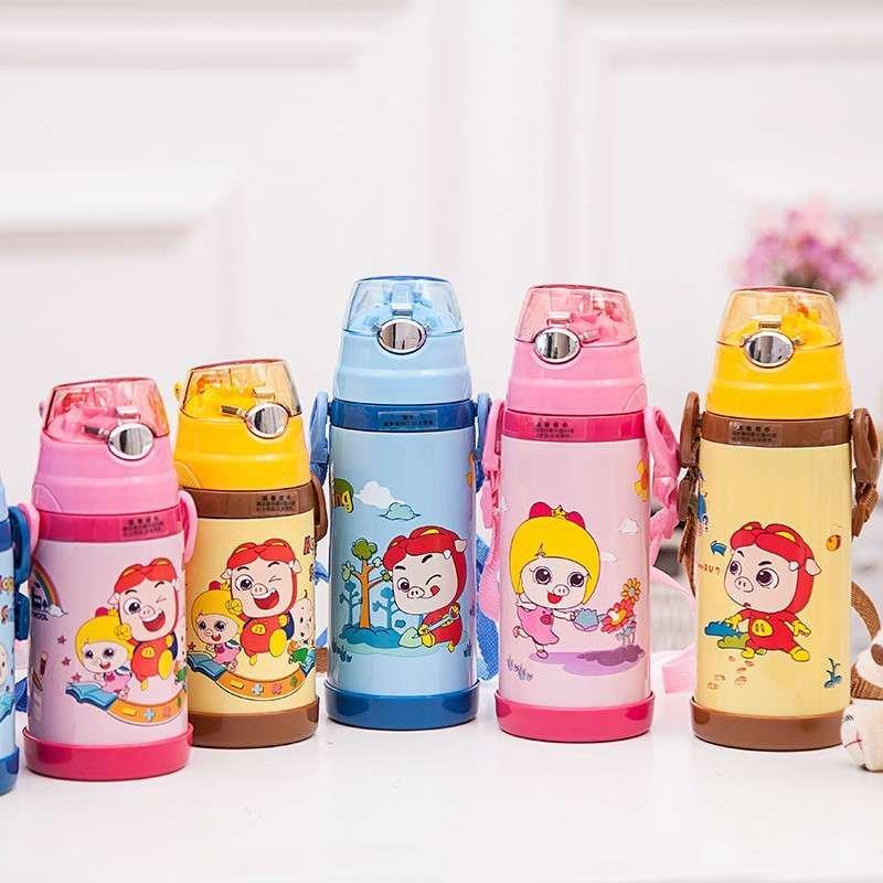 猪猪侠 儿童婴儿保温壶不锈钢水杯 宝宝学生保温杯带软吸管 可拆卸