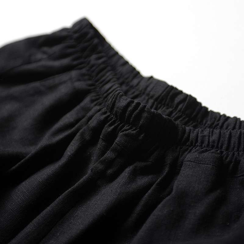 【芥末原创】出戟/全亚麻哈伦裤 女 纯麻个性剪裁立体结构七分裤