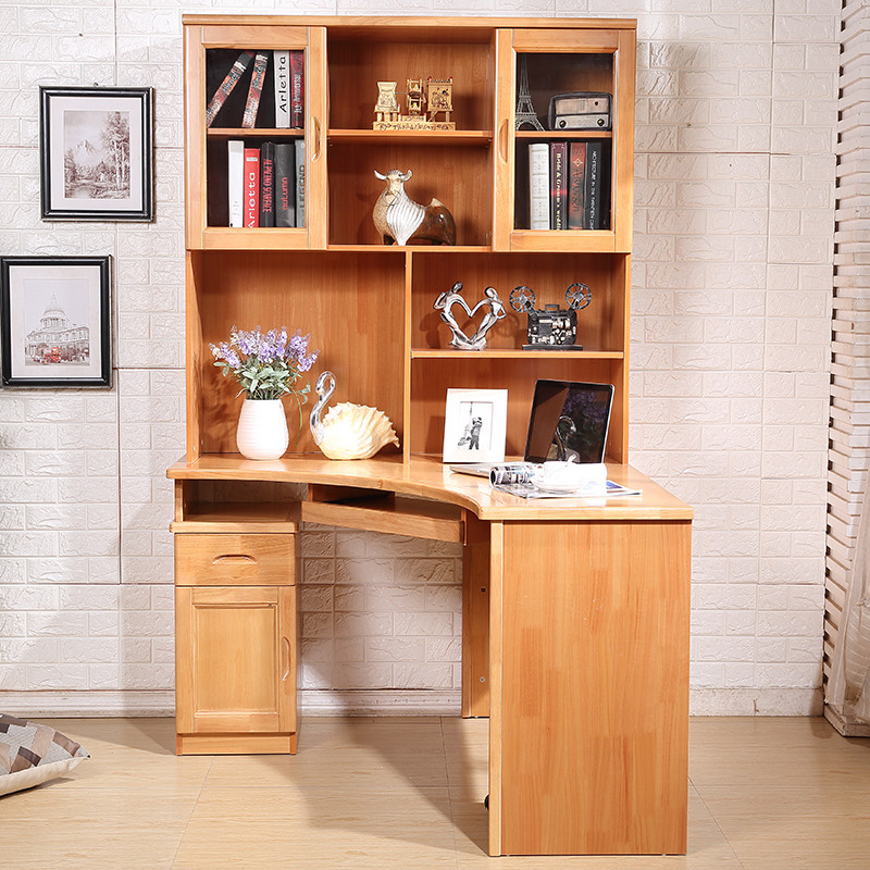 实木书桌转角书桌办公学习桌子书桌带书柜书架组合 学习台子小孩学习