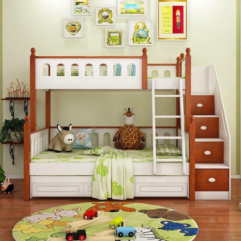 优漫佳 儿童床护栏上下床 高低床儿童房家具地中海双层橡胶木床实木床