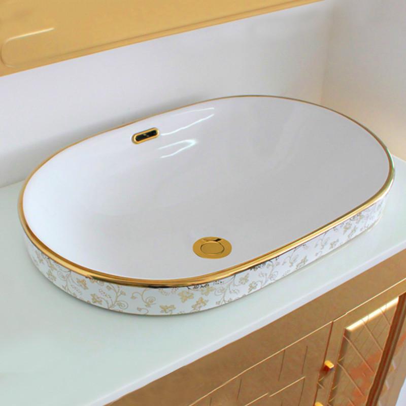 佰饰(baishi) 台上盆洗手盆陶瓷面盆洗脸盆半嵌入式台图片