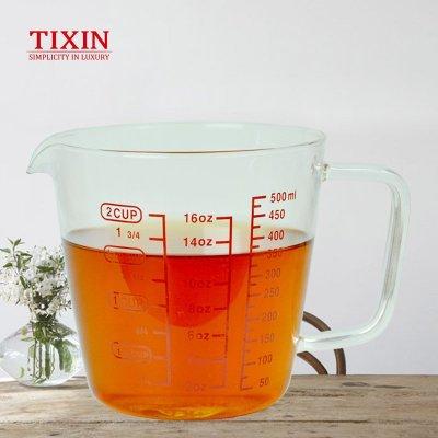 TIXIN/梯信 玻璃量杯 带刻度烧杯耐热水杯加厚计量杯烘焙牛奶量筒 玻璃量杯-500ML