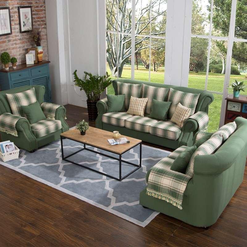 欧斯廷 地中海布艺沙发 美式乡村 格子沙发 小户型客厅6001图片