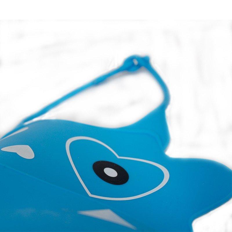 儿童硅胶围兜 宝宝围嘴 防水 婴儿吃饭兜 立体大号口水巾蓝色鲨鱼