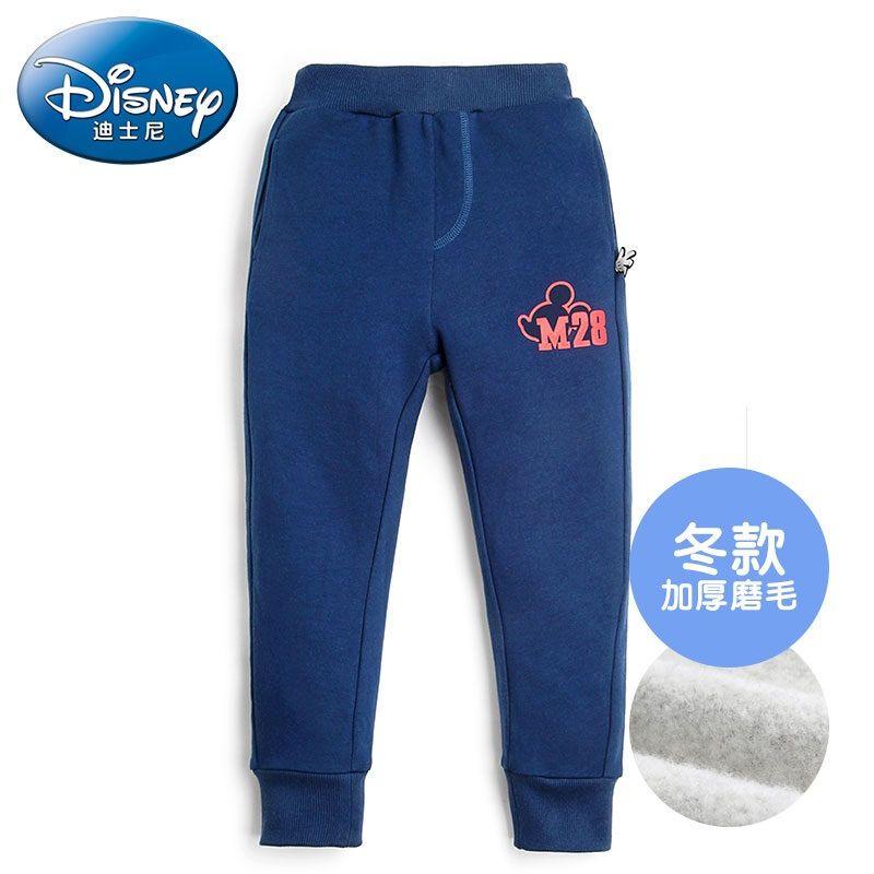 迪士尼男童裤子 米奇图案加厚针织长裤 秋冬新款中大儿童裤子