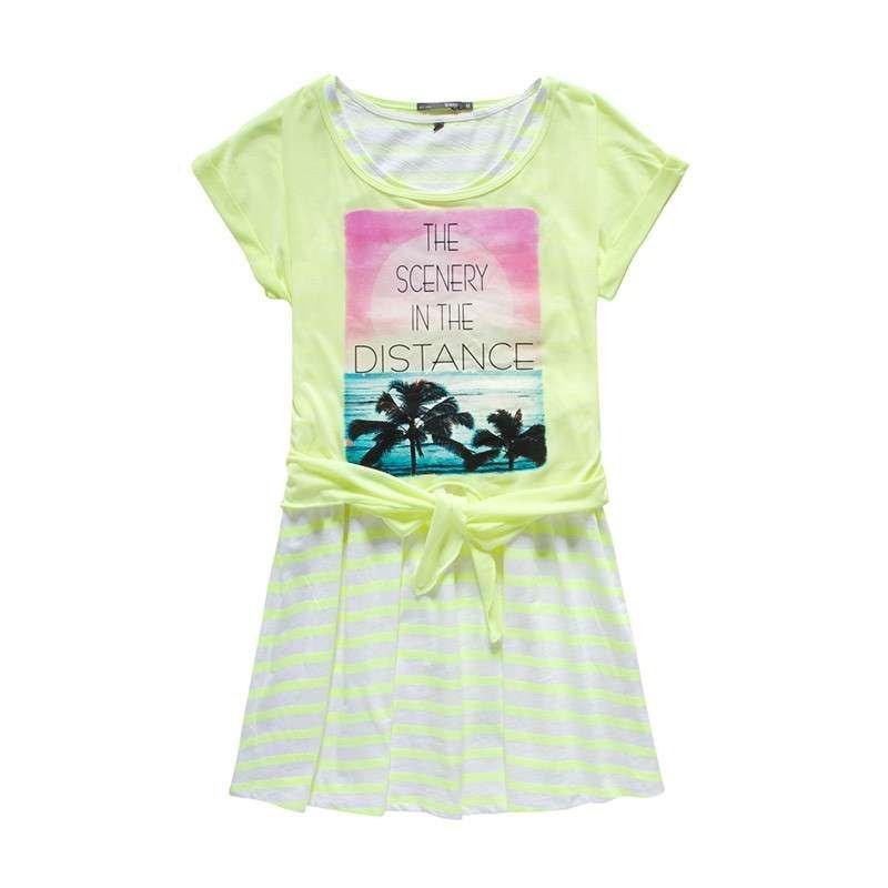 森马2015夏装韩版新款连衣裙女装宽松圆领短袖两件套甜美印花潮