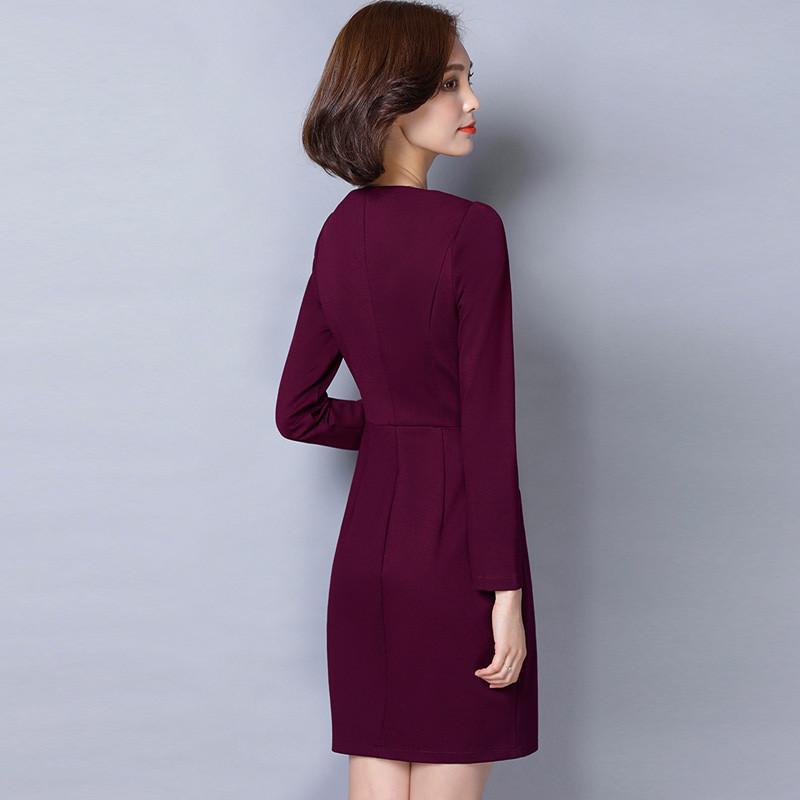 朵芙伊莎 女装新款韩版长袖春秋季连衣裙中长款修身开叉女士一步包臀