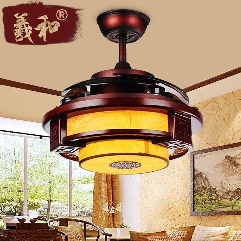 中式电风扇吊灯 客厅餐厅led木质隐形扇叶吊灯 饭厅复古实木带风扇灯