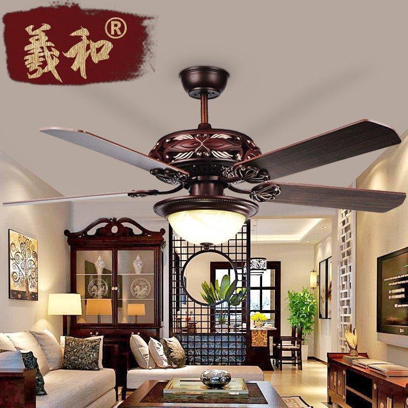 羲和吊扇灯新中式电风扇吊灯 客厅餐厅led木质风扇灯具 饭厅餐桌复古