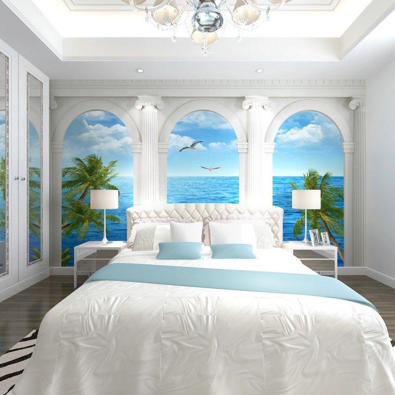 壹加壹电视墙壁纸3d现代大型壁画墙纸卧室客厅无纺无缝墙布地中海