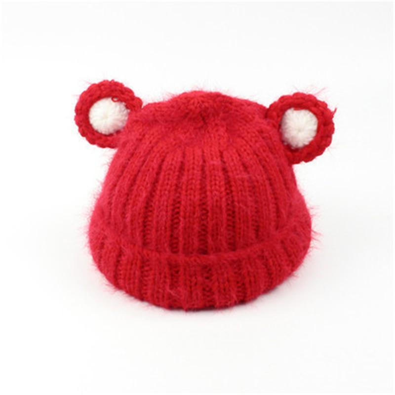 韩版秋冬儿童毛线帽子小熊耳朵男女宝宝针织帽小孩加厚保暖手工帽