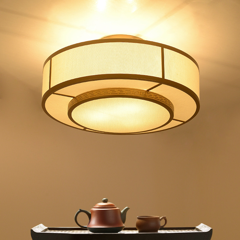 凯晶堡灯饰新中式铁艺吸顶灯客厅灯具圆形布艺餐厅灯具kjb8745图片