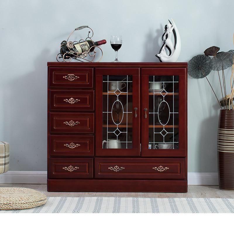 歪脖树 欧式实木红酒柜 现代客厅储物餐边柜 玻璃收纳