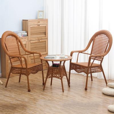 歪脖樹 高背藤椅 藤椅三件套 藤椅休閑椅 電腦椅 藤椅戶外庭院家具