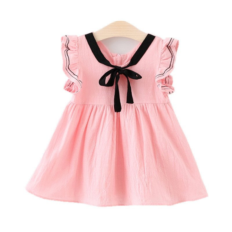 夏季新款韩版 女童花边袖领口 丝带蝴蝶结 连衣裙