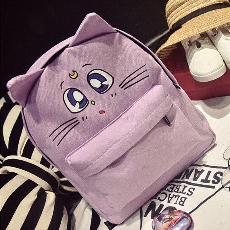 爱洛戈特ailuogete韩版时尚猫咪双肩包可爱卡通猫猫书包学生个性猫
