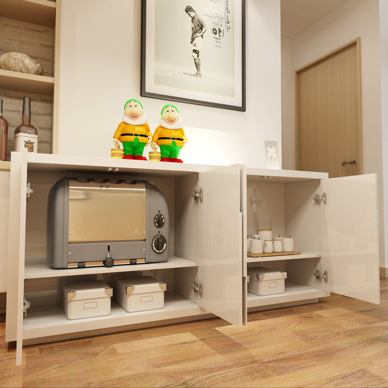 一米爱 餐边柜现代简约 白色烤漆茶水柜储物柜酒柜 时尚餐厅柜