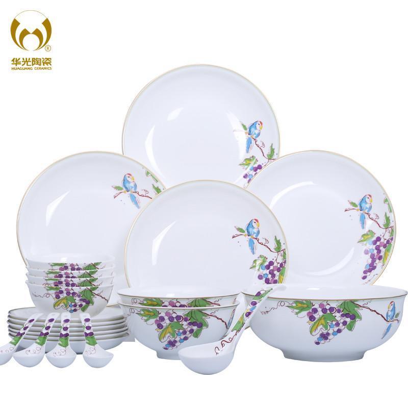 华光陶瓷 喜上眉梢骨瓷餐具套装 釉中彩碗盘子餐具瓷器 30头礼盒装图片