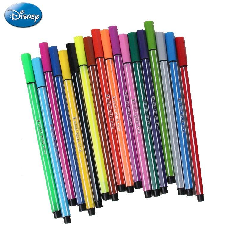 迪士尼米奇水彩笔学生绘画笔 男女童水彩笔桶装儿童创意水彩笔 18色