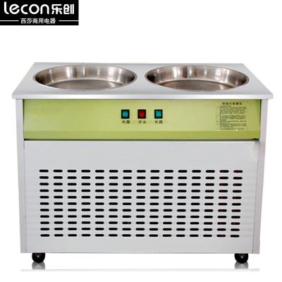 lecon樂創LC-CB01炒冰機20L商用酸奶機 冰粥機炒貨機器雙鍋商用炒酸奶機 炒冰機