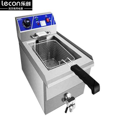 lecon/乐创13L单缸 不锈钢加厚商用单缸单筛电炸炉油炸锅炸薯条机炸鸡炉油炸机 油锅机