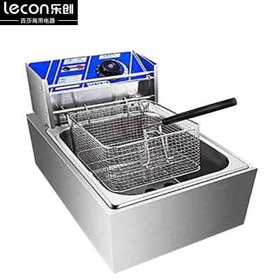 lecon乐创6L单缸加厚商用不锈钢单缸单筛电炸炉油炸锅炸薯条机炸鸡炉油炸机油锅机