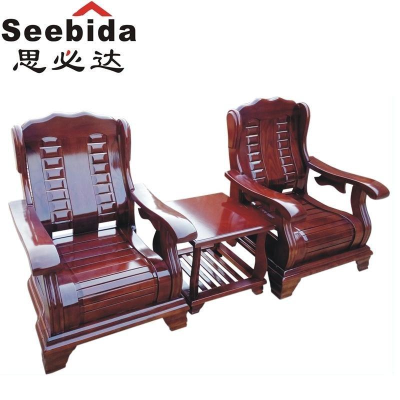 思必达 原木春秋椅 中式实木沙发 中式小户型 客厅实木沙发 三人沙发