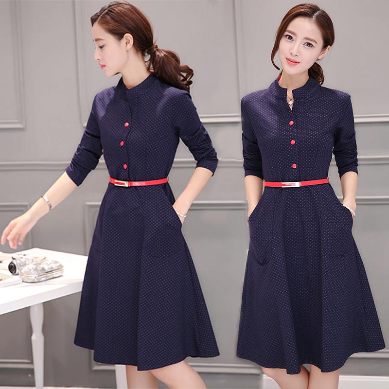 2016秋装新款衬衫连衣裙韩版气质修身中长款打底长袖a图片