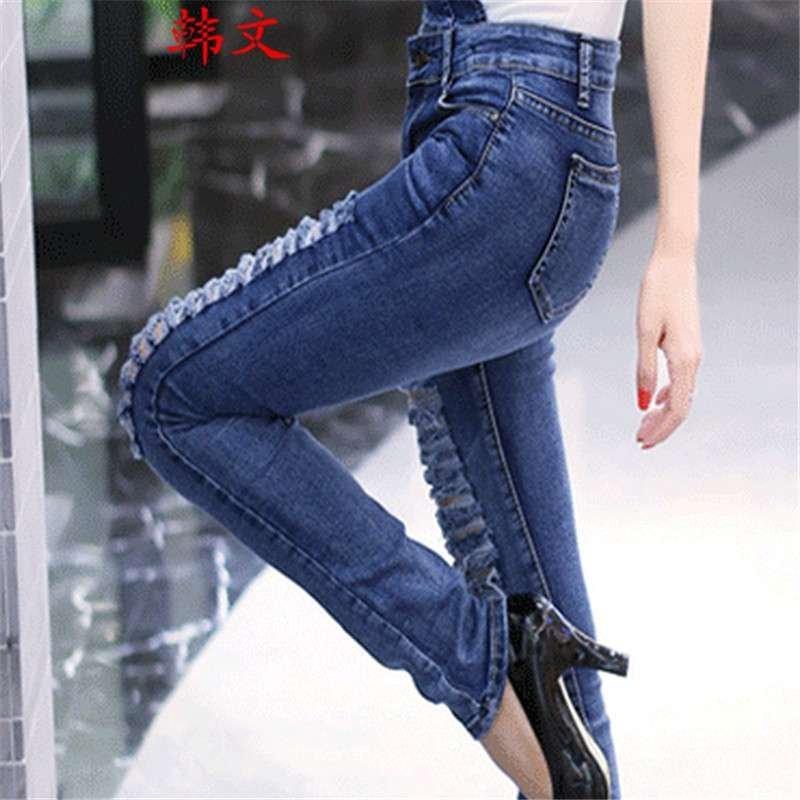 韩文弹力破洞拉丝修身显瘦连体裤吊带长裤小脚牛仔背带裤