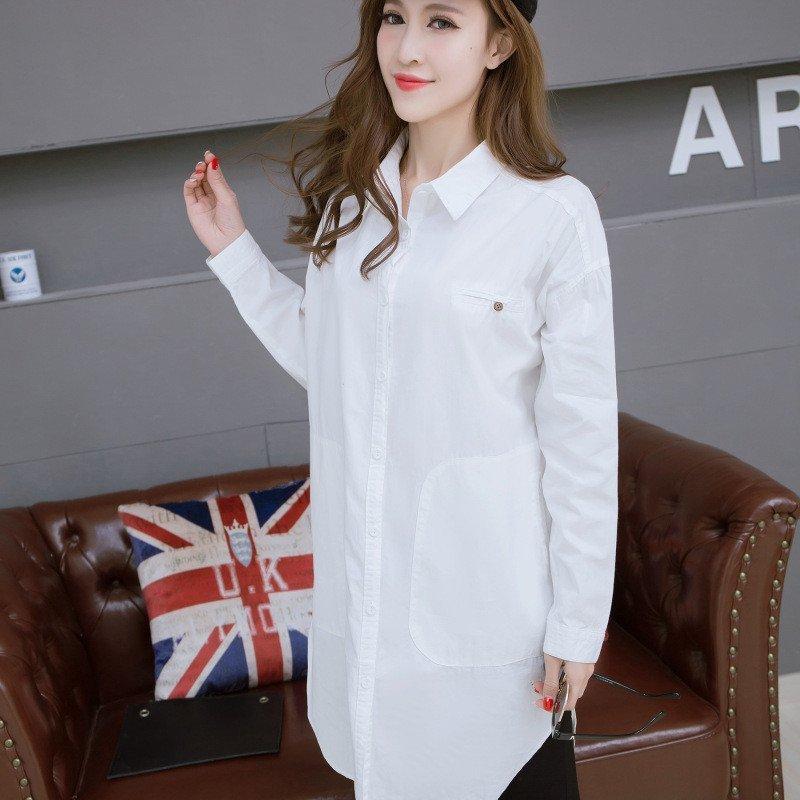 韩文2016春季新款 韩版宽松bf男友风白衬衫