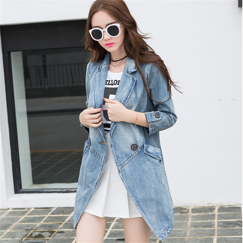 韩文2017秋季新款简约百搭韩版修身女士中长牛仔风衣式外套图片