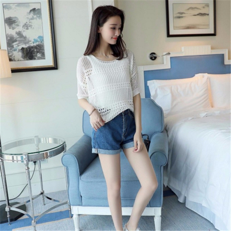 韩文2017新款夏季蝙蝠袖打底衫大码镂空罩衫长袖上衣女t恤c0392